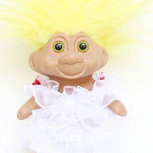 TNT Bride Troll, Troll Doll in White Dress Vintage